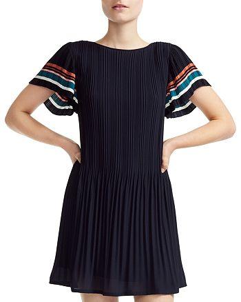 Maje - Rolini Pleated A-Line Mini Dress