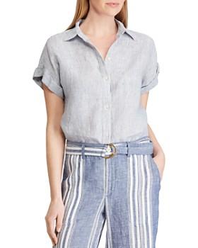 Ralph Lauren - Short-Sleeve Striped Linen Shirt