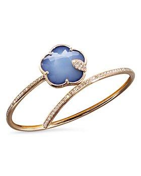 Pasquale Bruni - 18K Rose Gold Joli Gemstone Bangle Bracelet with White & Champagne Diamonds