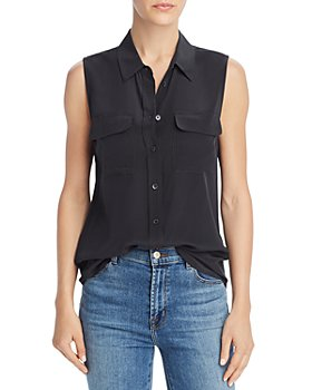 Equipment - Sleeveless Slim Signature Silk Shirt