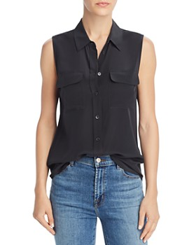 b08e1cd19 Equipment - Sleeveless Slim Signature Silk Shirt ...