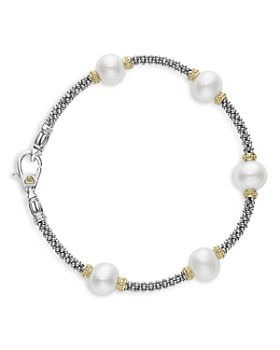 LAGOS - Sterling Silver & 18K Yellow Gold Luna Cultured Freshwater Pearl Station Bracelet