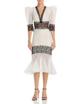 BRONX AND BANCO - Elizabeth Contrast Lace Midi Dress