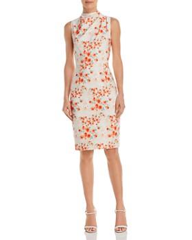 09252708 Black Halo - Corrine Floral Sheath Dress ...