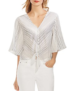 VINCE CAMUTO - Striped Tie-Front Blouse