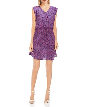 VINCE CAMUTO - Leaf-Print Flutter-Sleeve Dress
