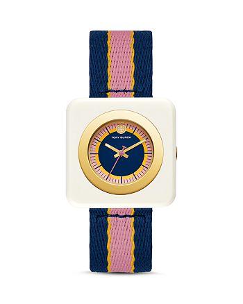 Tory Burch - The Izzie Striped Strap Watch, 36mm x 36mm