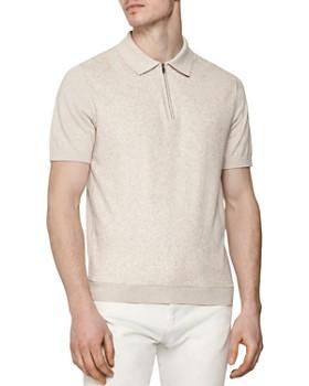 REISS - Victor Velour Regular Fit Half-Zip Polo Shirt
