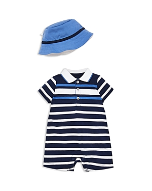 Little Me Boys Striped Polo Shortall  Sun Hat Set  Baby