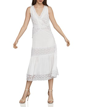 4595bc0ac332 BCBGMAXAZRIA - Lace-Trim Satin Midi Dress ...
