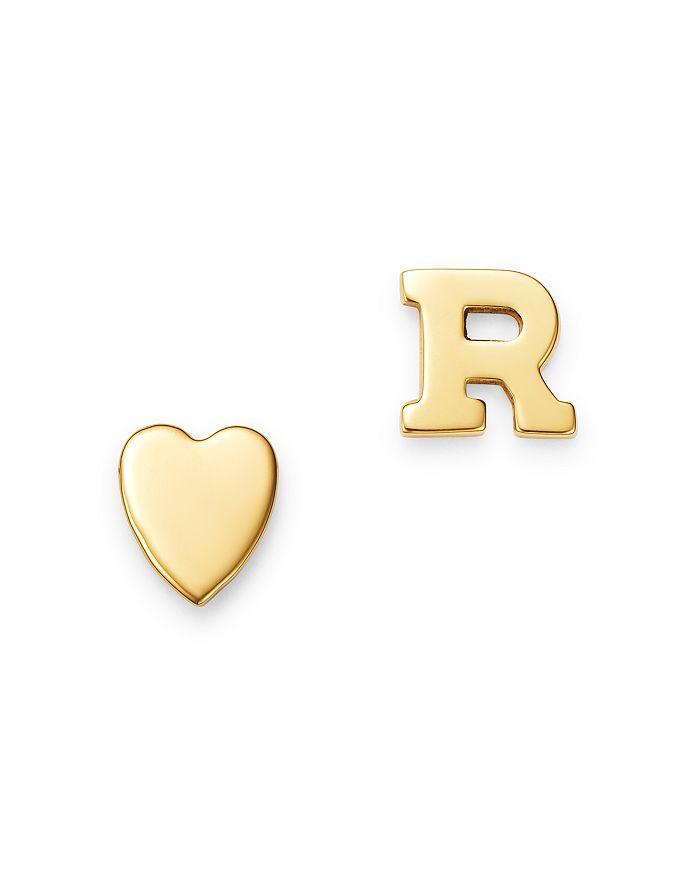 Zoe Lev 14k Yellow Gold Heart & Initial Stud Earrings In R/gold