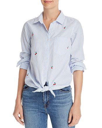 Sundry - Cherry Striped Tie-Hem Shirt