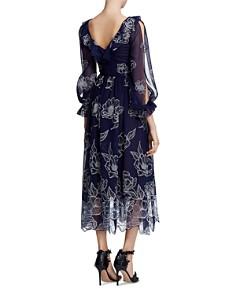 MARCHESA NOTTE - Embroidered Chiffon Midi Dress