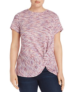 B Collection by Bobeau Curvy - Rachelle Space-Dyed Knot Top