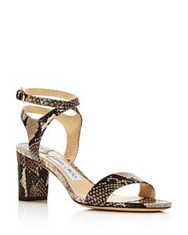 Jimmy Choo - Women's Marine 65 Snake-Embossed High-Heel Sandals - 100% Exclusive