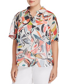 Lafayette 148 New York Plus - Justice Printed Silk Blouse