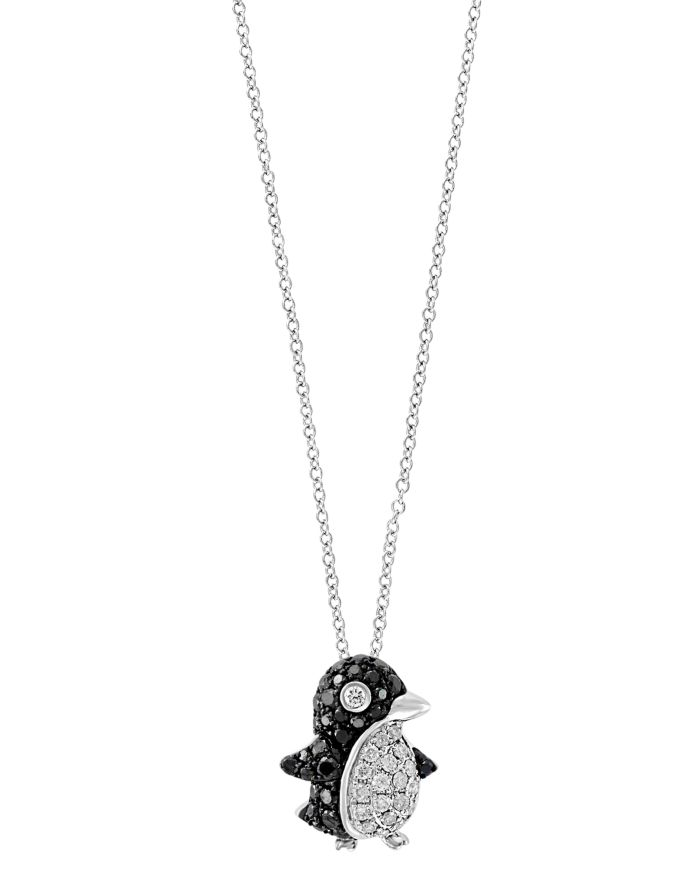 """Bloomingdale's Black & White Diamond Penguin Pendant Necklace in 14K White Gold, 18"""" - 100% Exclusive  