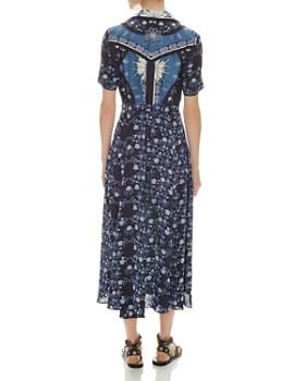 Sandro - Nour Mixed-Print Midi Dress