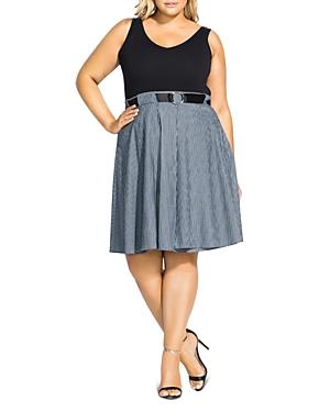 City Chic Plus Sleeveless Belted Dress