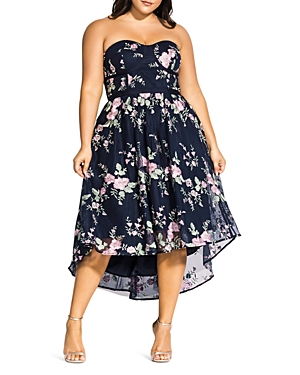 City Chic Plus Aphrodite Strapless Floral Embroidered Dress