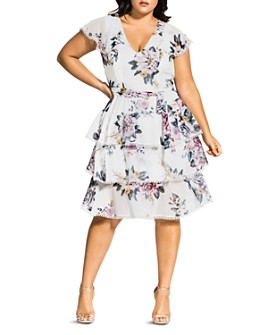 City Chic Plus - Summer Love Floral Tiered-Ruffle Dress