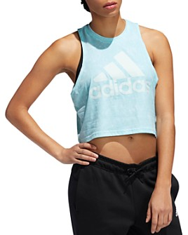 Adidas - High/Low Cropped Logo Tank