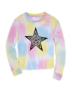 Flowers by Zoe - Girls' Tie-Dyed Slit-Neck Sweatshirt - Little Kid