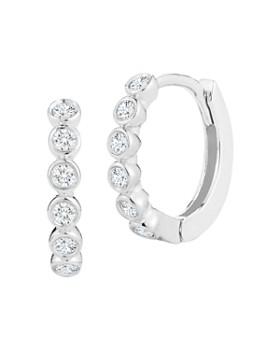 MATEO - 14K White Gold Bezel-Set Diamond Huggie Hoop Earrings