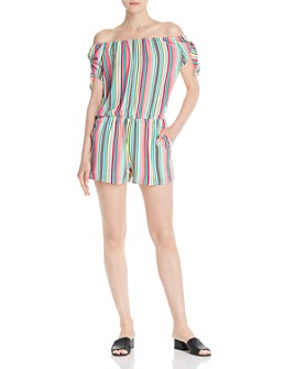 AQUA - Striped Off-the-Shoulder Romper - 100% Exclusive