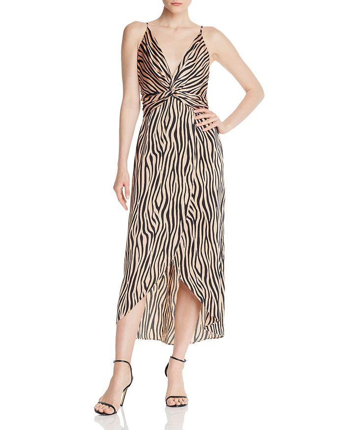AQUA - Twist-Front Zebra Print Dress - 100% Exclusive