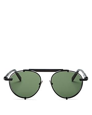 Salvatore Ferragamo Men's Brow Bar Round Sunglasses, 52mm