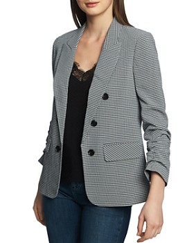 255b5650a9 STATE - Check-Print Ruched-Sleeve Blazer ...