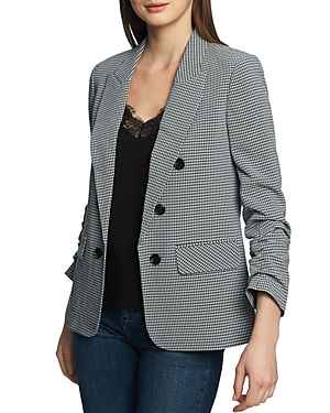 1.state Blazers CHECK-PRINT RUCHED-SLEEVE BLAZER