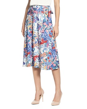 T Tahari - Floral Faux-Wrap Skirt