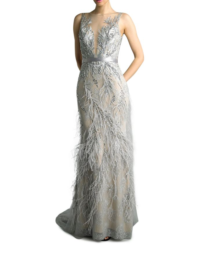 Basix - Feather Embellished Gown