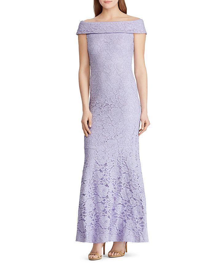 Ralph Lauren - Off-the-Shoulder Lace Gown