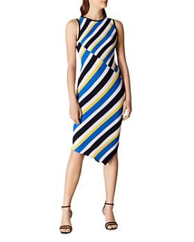 KAREN MILLEN - Asymmetric Striped Rib-Knit Dress