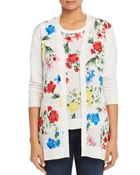 Calvin Klein - Floral-Print Long Open Cardigan