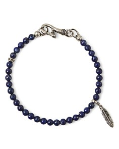 John Varvatos Collection - Sterling Silver Mercer Lapis Beaded Feather Charm Bracelet