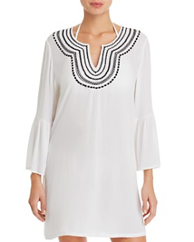 bc6ea13547 Tommy Bahama - Embroidered Bell-Sleeve Dress Swim Cover-Up ...