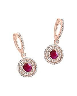 Bloomingdale's - Ruby & Diamond Halo Drop Earrings in 14K Rose Gold - 100% Exclusive