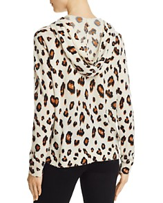 Minnie Rose -  Leopard Print Cashmere Hooded Sweatshirt