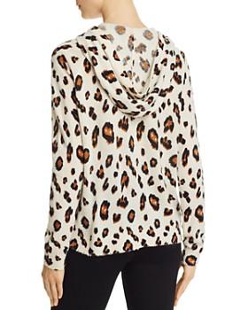 Minnie Rose -  Leopard Print Cashmere Hooded Sweatshirt