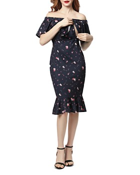 Kimi & Kai - Flora Printed Off-the-Shoulder Maternity Dress