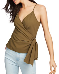 1.STATE - Sleeveless Faux-Wrap Top