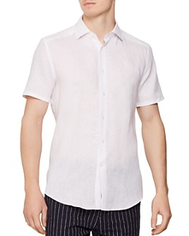 REISS - Morrezmo Linen Slim Fit Button-Down Shirt