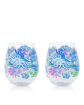 Lilly Pulitzer - Lion Around Acrylic Wine Glasses, Set of 2