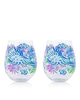 Lilly Pulitzer - Lion Around Acrylic Wine Glasses, Set of 2