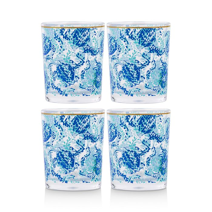 Lilly Pulitzer - Turtley Awesome Acrylic Lo-Ball Glasses, Set of 4