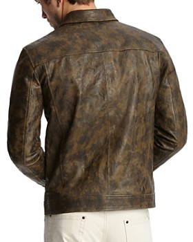 John Varvatos Collection - Camouflage-Print Leather Jacket